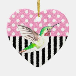 Ornement Cœur En Céramique Point de polka rose de colibri