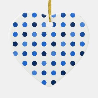 Ornement Cœur En Céramique Pois bleu
