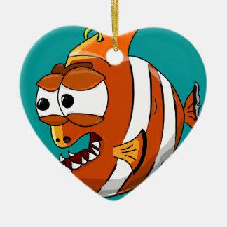 Ornement Cœur En Céramique poissons