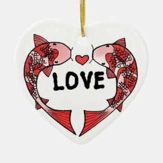 Ornement Cœur En Céramique Poissons de Koi avec l'ornement en céramique de