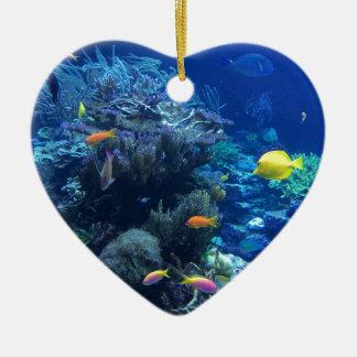 Ornement Cœur En Céramique Poissons sous-marins tropicaux