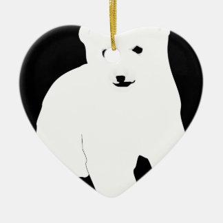 Ornement Cœur En Céramique PolarBearCubBlackSF