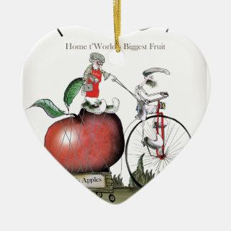 Ornement Cœur En Céramique Pommes de Yorkshire d'amour grandes