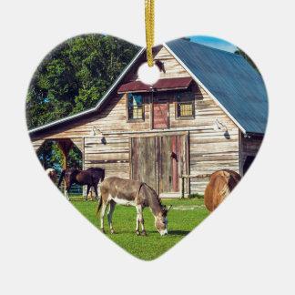 Ornement Cœur En Céramique Poneys à la ferme