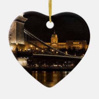 Ornement Cœur En Céramique Pont à chaînes avec le château Hongrie Budapest de