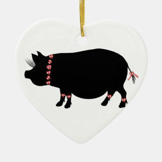 Ornement Cœur En Céramique Porc de Bellie de pot (rouge)