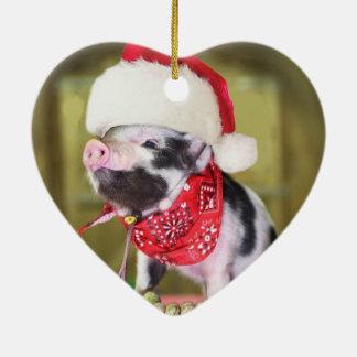 Ornement Cœur En Céramique Porc le père noël - porc de Noël - porcelet