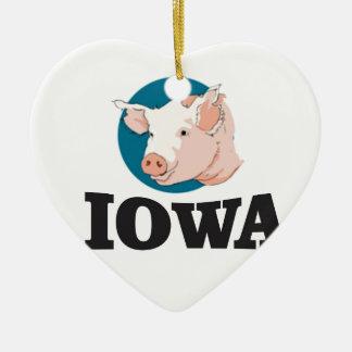 Ornement Cœur En Céramique porcs de l'Iowa