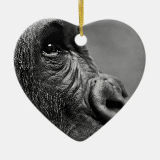 Ornement Cœur En Céramique Portrait de gorille