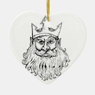 Ornement Cœur En Céramique Poseidon portant la gravure sur bois en couronne