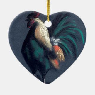 Ornement Cœur En Céramique Poulet en pastel de coq