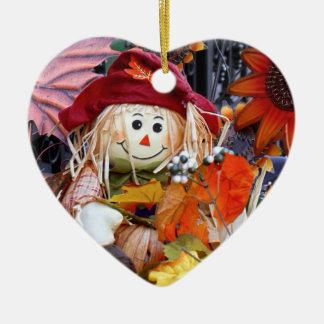 Ornement Cœur En Céramique Poupée de chiffon de thanksgiving parmi la scène