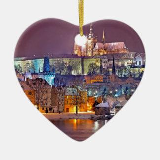 Ornement Cœur En Céramique Prague en hiver