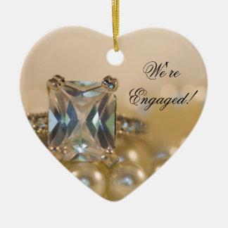 Ornement Cœur En Céramique Princesse Diamond et fiançailles de perles de