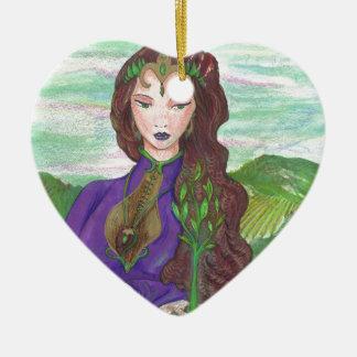 Ornement Cœur En Céramique Princesse Healing Earth Plant Growing de licorne