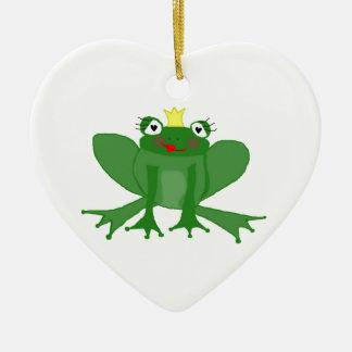Ornement Cœur En Céramique Princesse mignonne Frog d'ornement de coeur