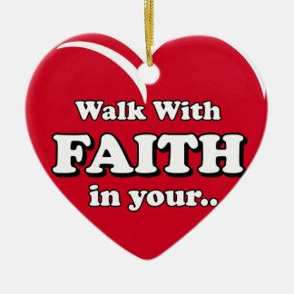 Ornement Cœur En Céramique Promenade avec l'ornement de foi