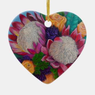 Ornement Cœur En Céramique Proteas géants et roses oranges
