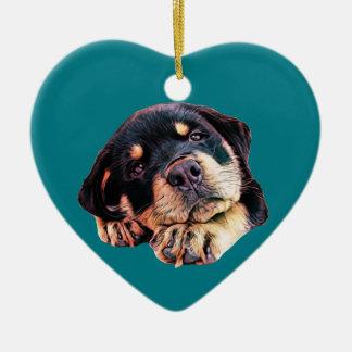 Ornement Cœur En Céramique Race allemande canine de chien de Rott d'amour de