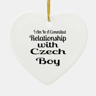 Ornement Cœur En Céramique Rapport avec le garçon tchèque