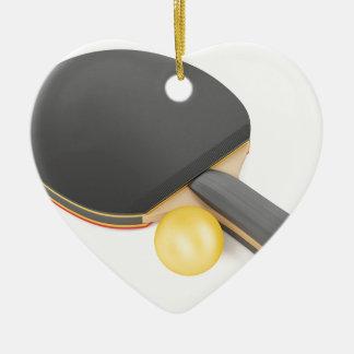 Ornement Cœur En Céramique Raquette et boule de ping-pong