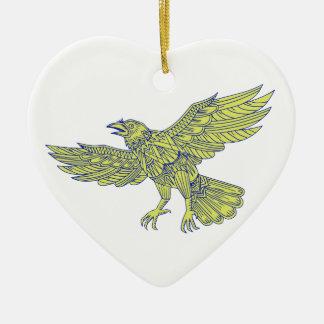 Ornement Cœur En Céramique Raven commun pilotant le mandala