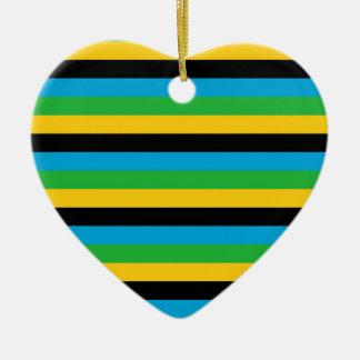 Ornement Cœur En Céramique Rayures de drapeau de la Tanzanie