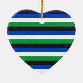 Ornement Cœur En Céramique Rayures de drapeau d'insulaire de détroit de