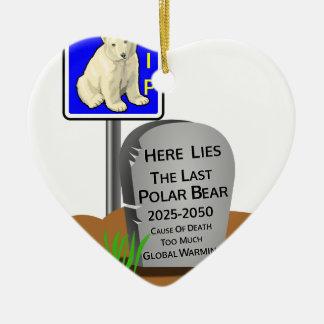 Ornement Cœur En Céramique Réchauffement climatique, ours blanc 2050 de