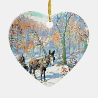 Ornement Cœur En Céramique Récolte d'automne de l'impressionisme  