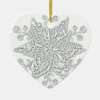 Ornement Cœur En Céramique Remous de flocon de neige