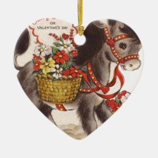 Ornement Cœur En Céramique Rétro petite Saint-Valentin douce vintage d'âne