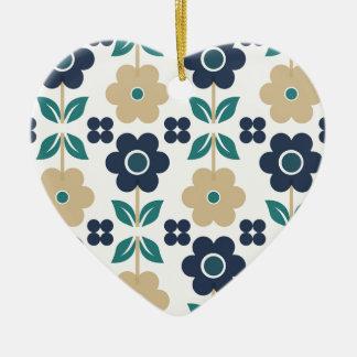 Ornement Cœur En Céramique Rétros fleurs bleues/beiges Dble-ont dégrossi