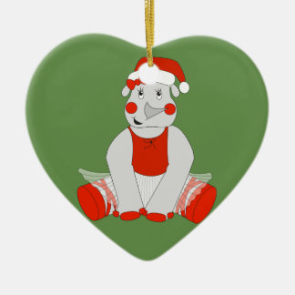 Ornement Cœur En Céramique Rhinocéros de ballerine - Special de Noël