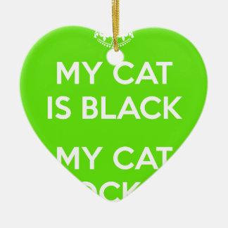 Ornement Cœur En Céramique Roches de chat noir