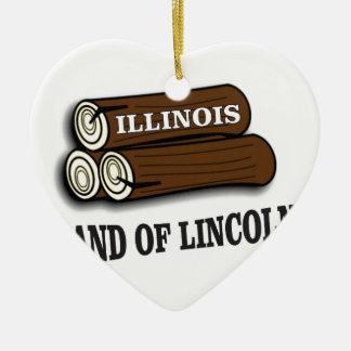 Ornement Cœur En Céramique Rondins de l'Illinois de Lincoln
