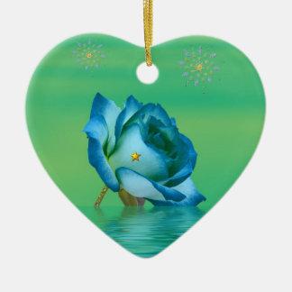 Ornement Cœur En Céramique Rose de bleu de vacances