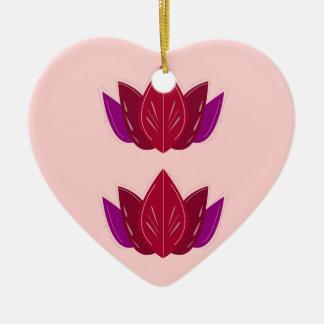 Ornement Cœur En Céramique Rose de lotus de santé