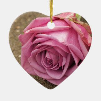 Ornement Cœur En Céramique Rose de rose