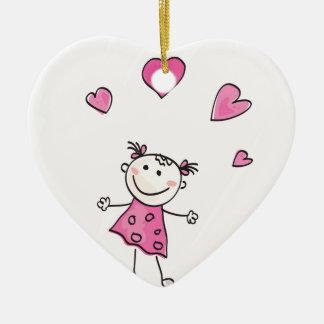 Ornement Cœur En Céramique Rose d'enfant avec des points
