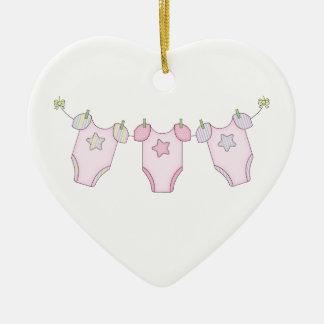 Ornement Cœur En Céramique Rose mignon de corde à linge de bébé