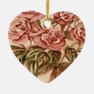 Ornement Cœur En Céramique Roses
