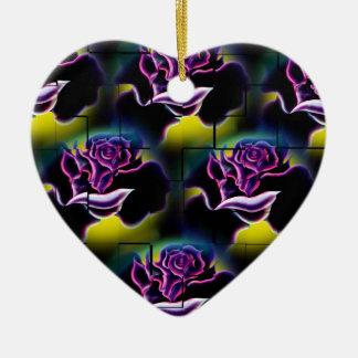 Ornement Cœur En Céramique Roses 6 magiques des fleurs