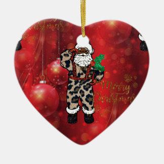 Ornement Cœur En Céramique rouge africain de Claus de léopard de père Noël