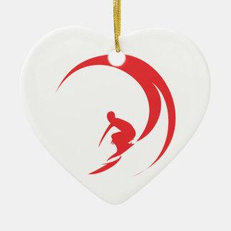 Ornement Cœur En Céramique Rouge de surfer