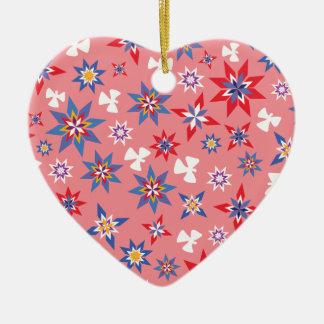Ornement Cœur En Céramique rouge et bleu d'ange de neige