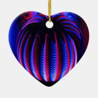 Ornement Cœur En Céramique Rouge et bleu dans la boule de boule