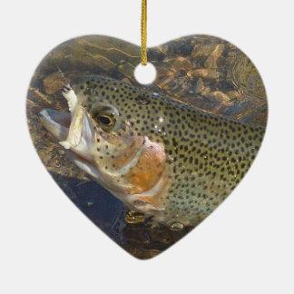 Ornement Cœur En Céramique Saint-Valentin de pêche de truite en forme de
