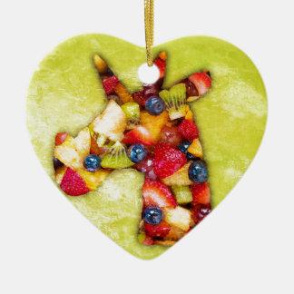 Ornement Cœur En Céramique Salade de fruits de licorne