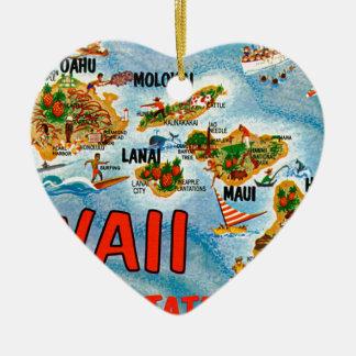 Ornement Cœur En Céramique Salutations d'Hawaï